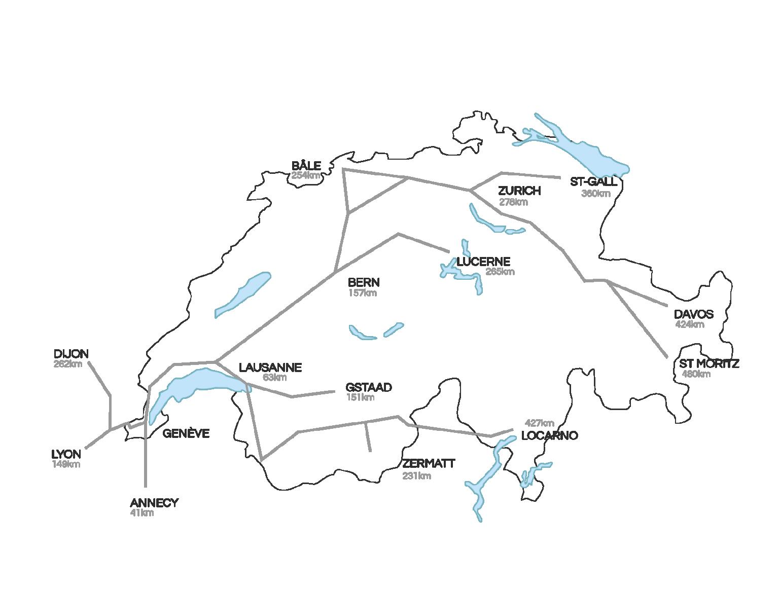 Road map towards SwitzerlandHotel D Geneva, Switzerland